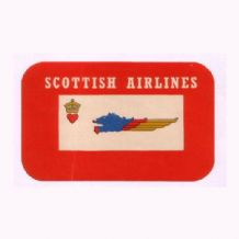 Vintage Airline luggage label Scotland Scottish Air #314